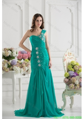 Turquoise One Shoulder Beading and Ruching Bridesmaide Dress with Brush Train