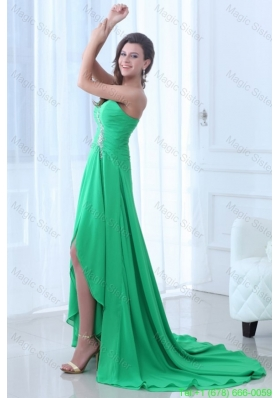 Turquoise Sweetheart Beading Ruching High Low Prom Dress