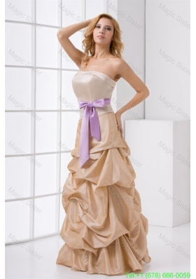 A-line Strapless Taffeta Champagne Prom Dress with Sashes
