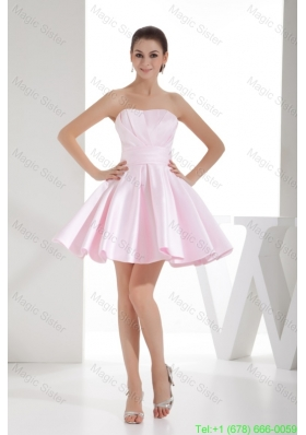 A-line Sweetheart Baby Pink Mini-length Bridesmaide Dress with Ruche