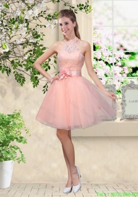 Artistic Halter Top Appliques and Laced Damas Dresses in Baby Pink
