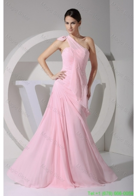 Baby Pink Bowknot One Shoulder Sheath Bridesmaide Dresses with Ruffles