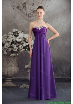 Beaded and Ruched Floor-length Purple Bridesmaide Celebrity Dress Strapless