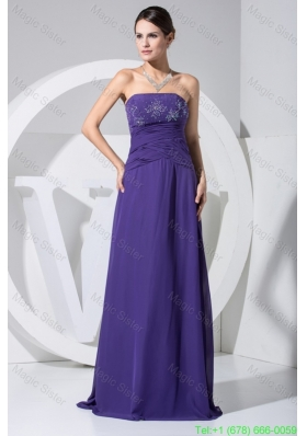 Beading and Ruching Strapless Floor-length Bridesmaide Gown in Purple