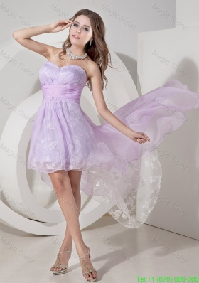 Beautiful Lavender Princess Chiffon High Low Bridesmaide Dress with Ruching
