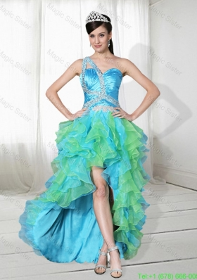 Beautiful One Shoulder Beading High Low Prom Dress in Multi Color