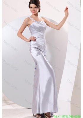 Column Gray Ruching Appliques One Shoulder Floor-length Prom Dress