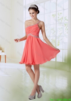 Cute One Shoulder Chiffon Empire Bridesmaide Dress in Watermelon