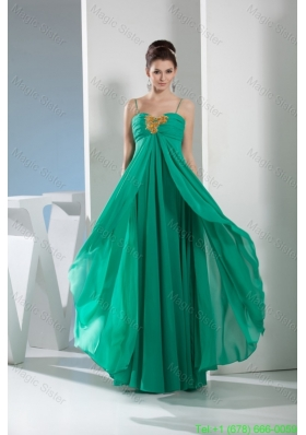 Elegant Spaghetti straps layers chiffon Bridesmaide Gown with Beaded appliques