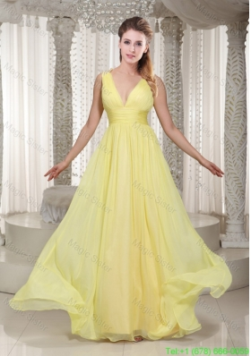 Latest Light Yellow V Neck Chiffon Bridesmaide Dress with Beading and Straps