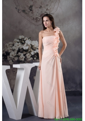 Light Pink One Shoulder Floor Length Prom Dress with Handmade Flower