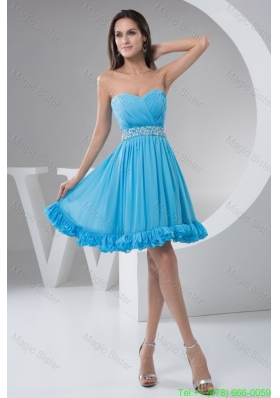 Ruched and Beaded A-line Bridesmaide Holiday Dress in Aqua Blue