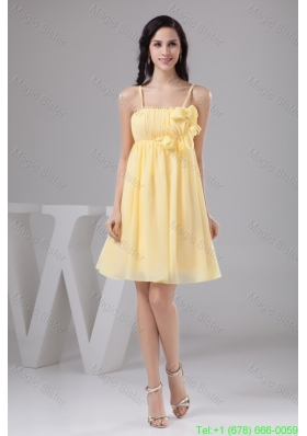 Ruched and Floral Mini-length Bridesmaide Gown Dress in Light Yellow