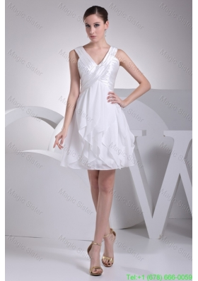 Ruffles and Ruching Decorated Princess V-neck White Bridesmaide Gowns