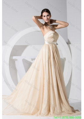 Sweetheart Brush Train Cool Back Bridesmaide Dresses with Satin Sash