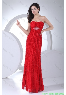 Sweetheart Red Bridesmaide Dress for Women with Beading and Ruffles