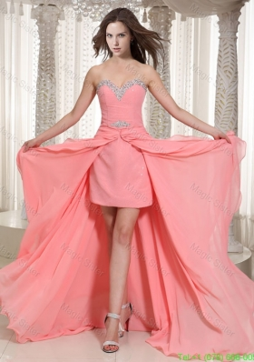 Watermelon Sweetheart High Low Chiffon Wonderful Bridesmaide Dress With Beading