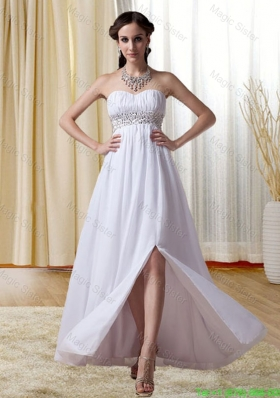 White Sweetheart Empire Beading and Ruching Bridesmaide Dress with Zipper