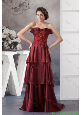 Appliqued Prom Dresses in Wine Red Brush Train
