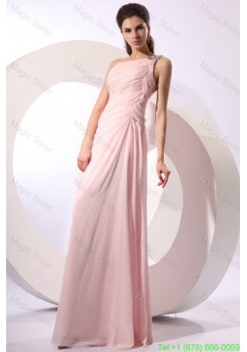 Baby Pink Empire One Shoulder Beaded Damas Dress with Ruches