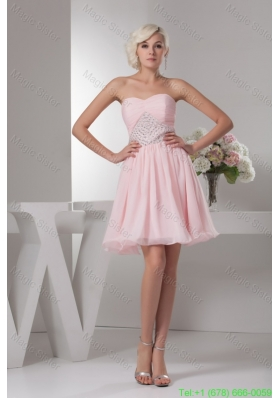 Baby Pink Sweetheart Ruche Beading Decorate Bridesmaide Gown Dress