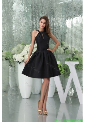 Elegant A-line Knee-length Black Bridesmaide Dress for Girls with Cutouts