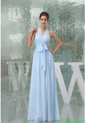 Light Blue Halter Ruches Sash Long Bridesmaide  Gown Dress