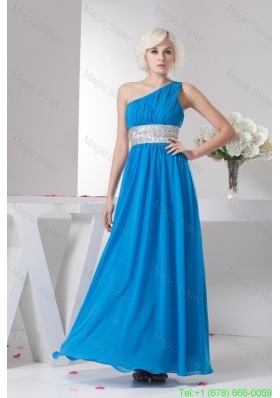 Teal One Shoulder Bridesmaide Dress with Silver Beading Waist