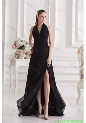 A Line Halter Top Floor Length Chiffon Black High Slit Celebrity Dress