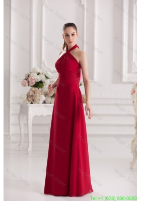 A Line Halter Top Floor Length Ruching Satin Prom Dress