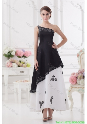 A-line One Shoulder Embroidery Black and White Ankle-length Damas Dress