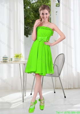 A Line Strapless Bowknot Custom Made Bridesmaid Dresses in Spring Green