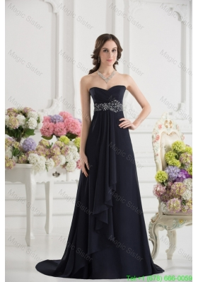 A Line Sweetheart Chiffon Beading Ruching Black Celebrity Dress