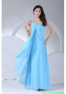 Aqua Blue One Shoulder Ankle-length Beaded Dress for Damas