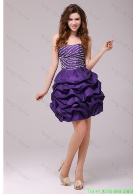 Beaded Purple Short Prom Dress with Pick-ups Mini-length