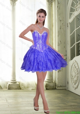 Beautiful Beading and Ruffles Short Lavender 2015 Celebrity Dress