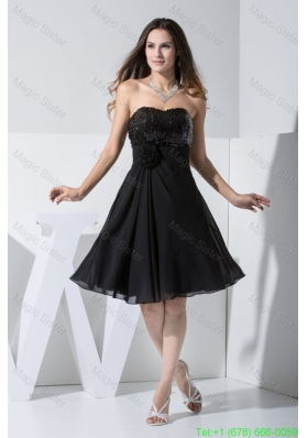 Handle Flowers and Paillettes Decorated Sweetheart Black Damas Dresses