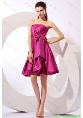 Strapless Fuchisa Prom Dress with Bow Knot A-line Knee-length