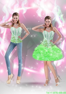 2015 Pretty Mini Length Beaded Prom Dresses in Spring Green