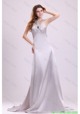 A-line Gray Straps Beading and Ruching Brush Train Prom Dress