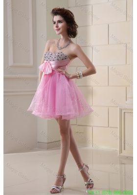 A-line Organza Prom Dress with Beading Ruchings Rose Pink Sweatheart