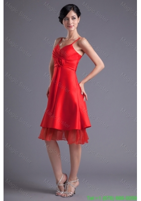 A-line Wine Red Spaghetti Straps Ruching Hand Made Flower Prom Dress