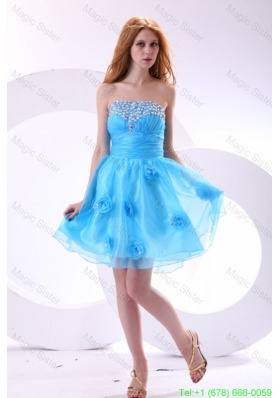 Aqua Blue Prom Dress with Strapless Beaded and Flowers