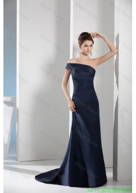 Asymmetrical Shoulder Sweep Train Navy Blue Celebrity Gown in Satin