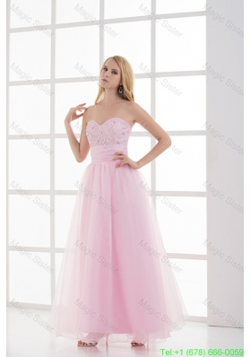 Baby Pink A-line Sweetheart Prom Dress with Beading and Ruching