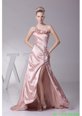 Beading and High Slit Decorated One Shoulder Brush Train Prom Dresses