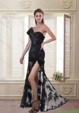Black Sheath One Shoulder Celebrity Dress with Beading and High Slit