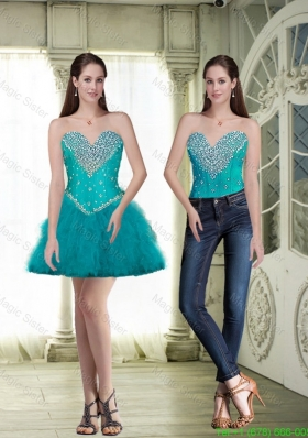Discount Short Sweetheart Teal Prom Dresses with Beading