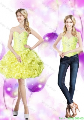 Elegant Detachable Prom Dresses with Beading and Rolling Flowers