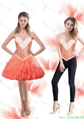Light Sweetheart Detachable Prom Dresses with Beading and Ruffles
